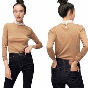 J. Crew Tippi Merino Wool Lace Collar Sweater - M